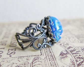 Fire Opal Ring Blue Opal Ring Antique Silver Ring Vintage Style Filigree Silver Ring Ombre Speckled Egg Glass Ring Gift