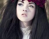 Burgundy velvet rose flower crown, floral hairband, hair accessory, hair wreath