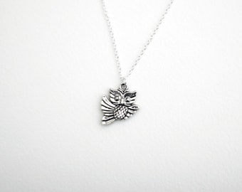 Owl Necklace- Silver Wizard Inspired Owl Charm- Happy Halloween