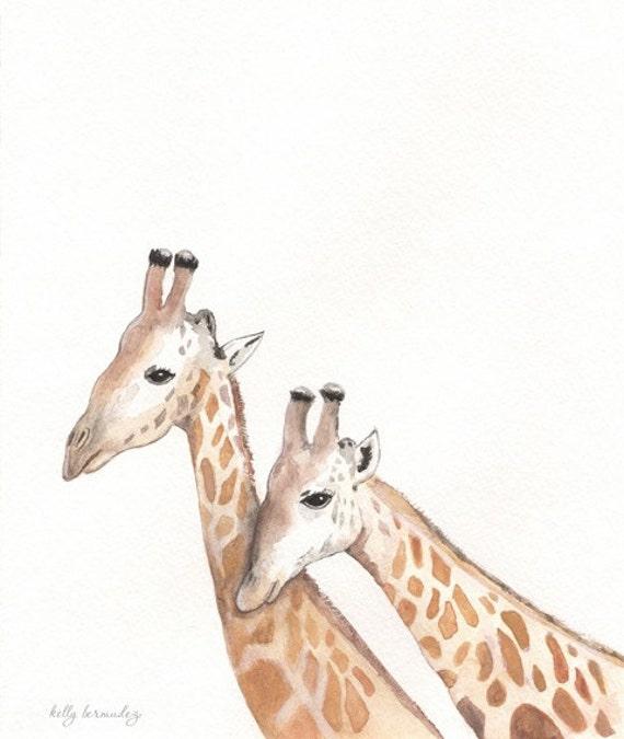 Life Long Love / Giraffe / tan / brown / Safari /  Watercolor print
