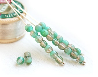 Grey and Mint Czech glass beads, teal green mixed color, round beads, spacers, druk - 4mm - approx.80Pc - 1395