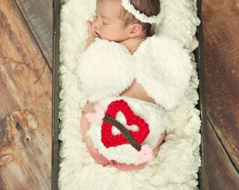 Cupid Newborn Photo Prop Set- baby angel set- newborn valentines day prop- angel photo prop- cupid photo prop- baby cupid costume