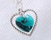 Emerald Swarovski Crystal Heart Necklace - May Birthstone - Silver Heart Charm - Gifts under 15