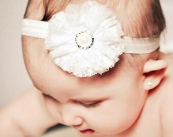 Baby headband, newborn headband, infant headband - IVORY lace and tulle flower IVORY lace or elastic headband and rhinestone