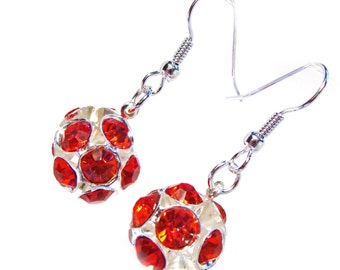 "Red Crystal ""Disco Ball""  Earrings"