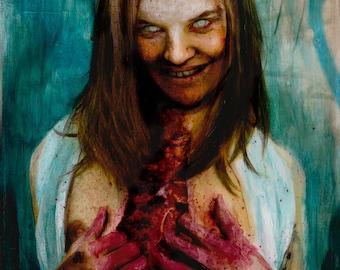 """Zombie Pinup 80 original zombie painting 9""""x12"""""""