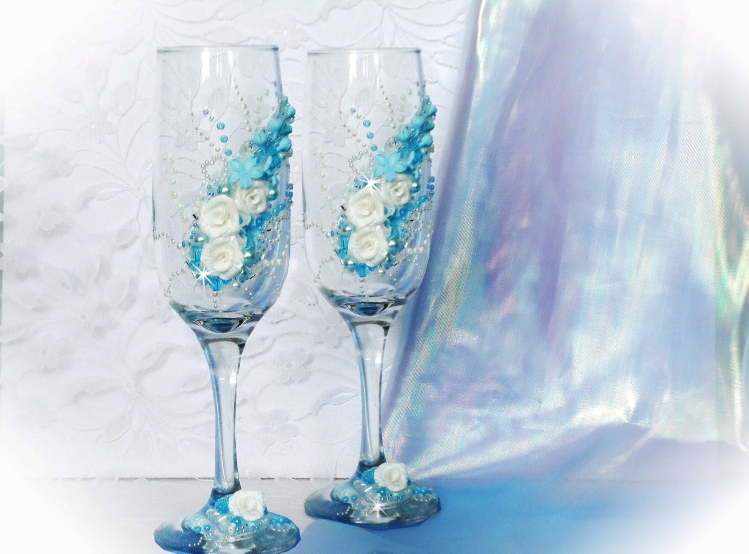 Pics For Gt Wedding Champagne Glasses Decorations