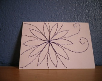 ACEO, Stitched Art, Purple Flower