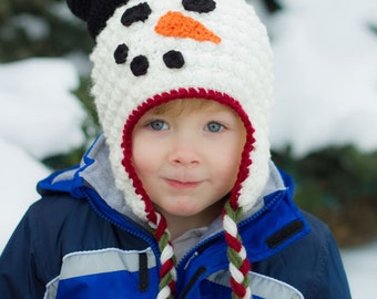 Hollyday Snowman Earflap Hat CROCHET PATTERN instant download