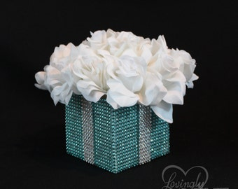 Centerpiece -  Small Light Teal and Silver Bling Box with White Silk Roses - Wedding, Bridal Shower, Baby Shower, Designer Inspired