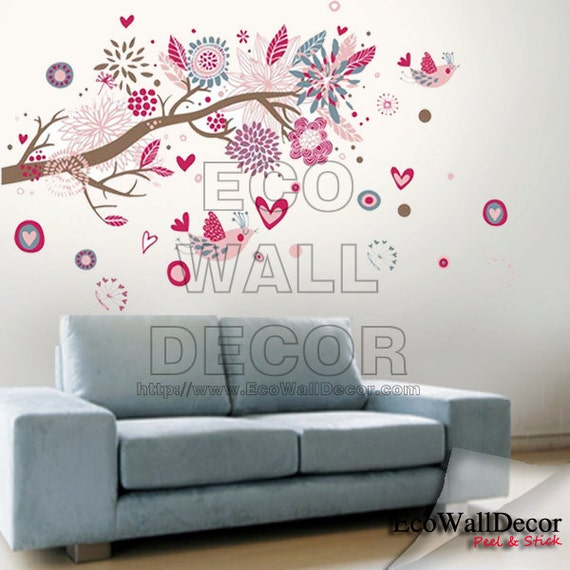PEEL and STICK Removable Vinyl Wall Sticker Mural Decal Art - Colorful Birds on Tree Branch Holiday Decoration Removable Wall Sticker Decal