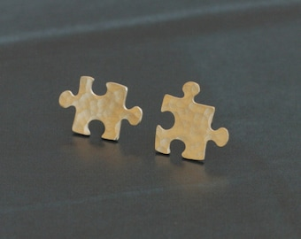 Gold Puzzle Earrings , Small Hammered Puzzle Posts , Jigsaw Puzzle Jewelry , Jigsaw Earrings , Puzzle Jewelry , Autism Puzzle