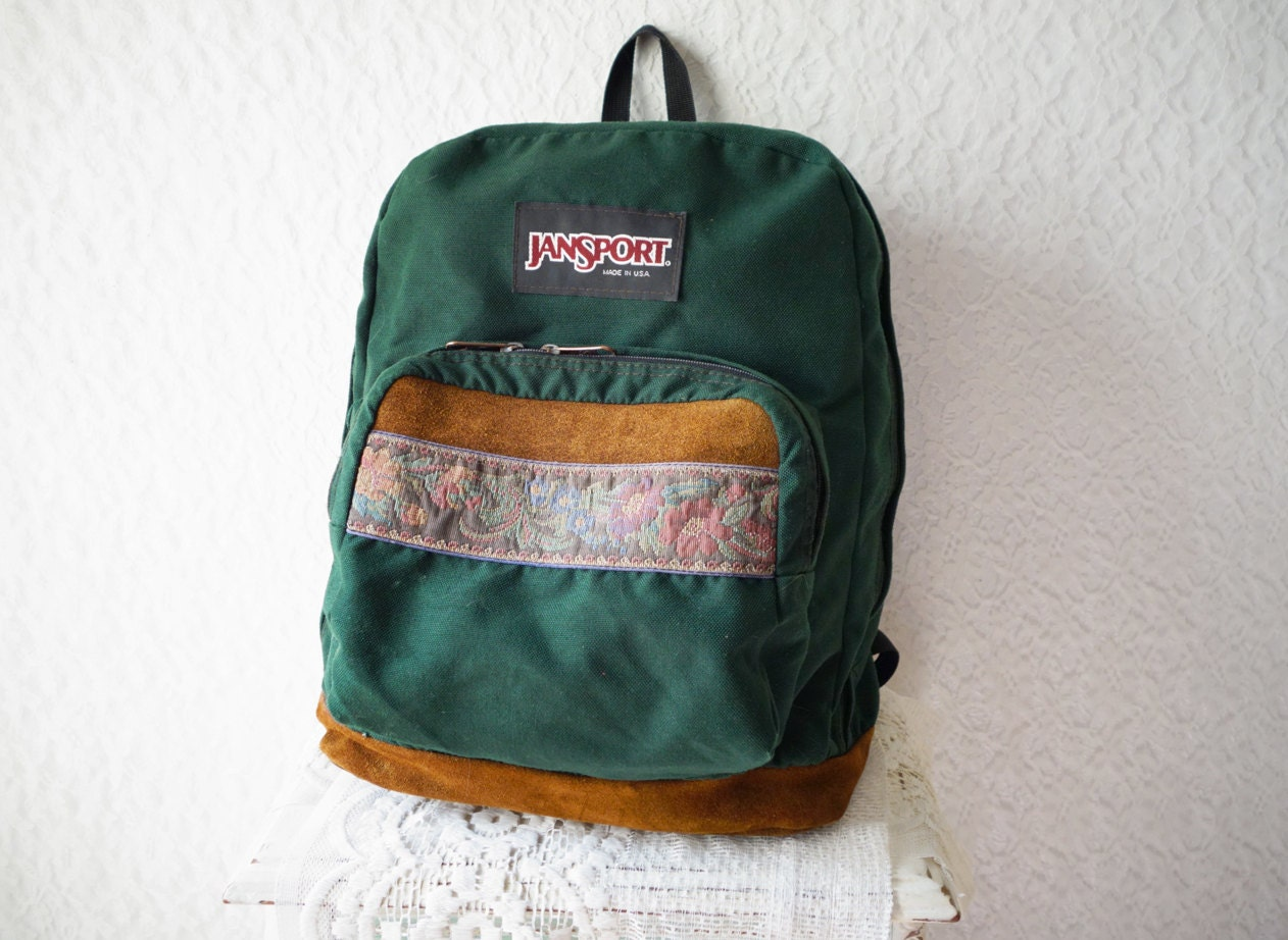 CLASSIC OLD SCHOOL Jansport Green Canvas Suede Floral Tapestry