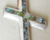 Abalone Sterling Silver Cross Vintage Large Cross Modernist Cross Pendant  Religious
