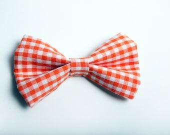 Orange Gingham Bow Tie -Baby Toddler Child Boys - Wedding - photo prop