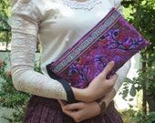 Fancy Purple Peacock Wristlet Clutch HMONG Embroidered Bag Handmade Fair Trade Thailand (BG810-PUA)