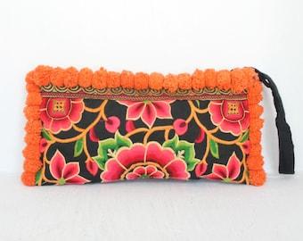 Clutch Orange Worm Pom Pom Wristlet Hill Tribe Fabric Vintage Fashionable Clutch Purse Handmade Thailand (BG810P-OW7)
