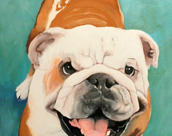Pet portrait, bulldog portrait, custom dog painting from your photo, 8x12 canvas