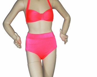 Neon coral retro inspired swimsuit, High waisted bathing suit, pinup bikini