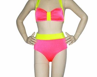 High waisted swimsuit, Neon coral and yellow retro bikini, bright pinup bikini