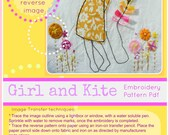 Embroidery pattern pdf - Girl and kite - retro vintage style design