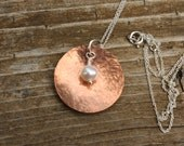 Domed Copper and Pearl Pendant