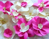 Large Paper Flowers Wedding Backdrop Arch or Wall Decor Set of 10