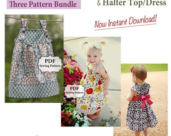 Apron Knot Dress, Halter Dress & Flutter Dress PDF Three Pattern Bundle