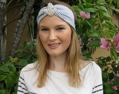 Blue and White Seersucker Stripe Silver Beaded Anchor Elastic Headwrap, for weddings, parties, special occasions
