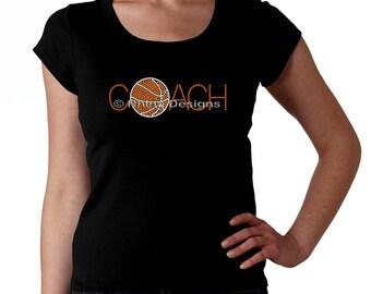 Basketball Coach RHINESTONE t-shirt tank top sweatshirt S M L XL 2XL - Bling Ball Sports Sport