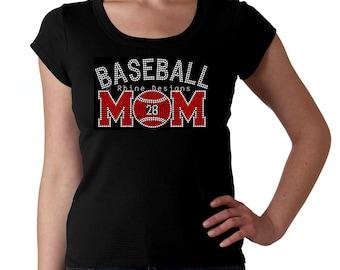 Custom Baseball Mom RHINESTONE t-shirt tank top sweatshirt - Pick number and colors - S M L XL 2XL - Bling Base Ball Mama Madre Mother
