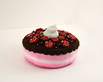 Strawberry Chocolate Cake Crochet Pattern, Dessert Crochet Pattern, Pie Crochet Pattern, Food Crochet Pattern, Food Amigurumi Cake Amigurumi