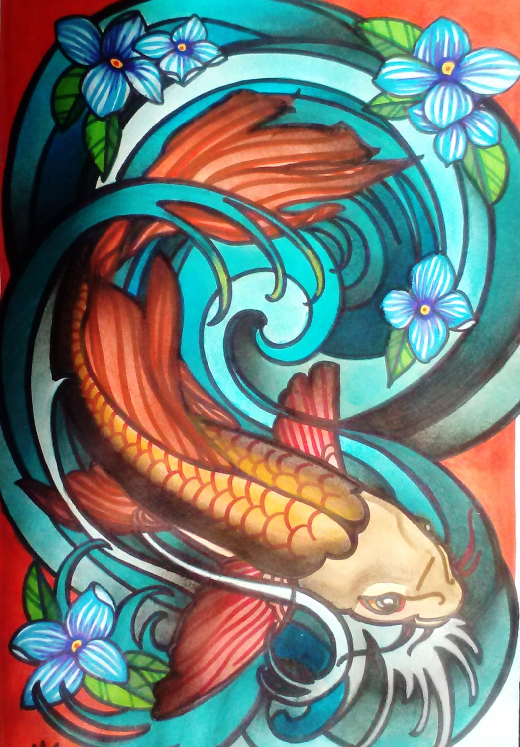 Koi fish in wave art deco or art nouveau stained glass fish for Koi fish artwork