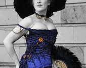 Edwardian Gibson Girl Gown Dress Costume in Blue Satin Handmade with Lace and Flower Detail