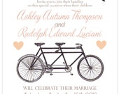Vintage Bicycle Wedding Invitation:  tandem bike, custom banner love birds