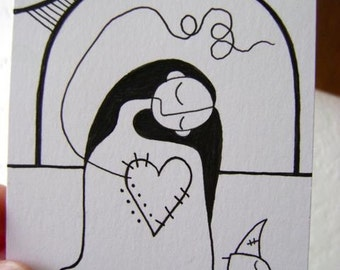 Black and White - Original Illustration - Woman With Heart