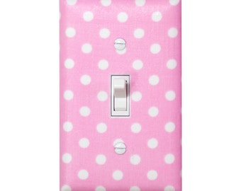 Pink Polka Dot Light Switch Plate Cover / Baby Girl Nursery Decor / Michael Miller Candy Pink White / Girls Room