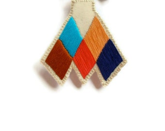 Tuareg inspired brooch chevron diamond badge hand embroidered coral blue peach tan Made to order