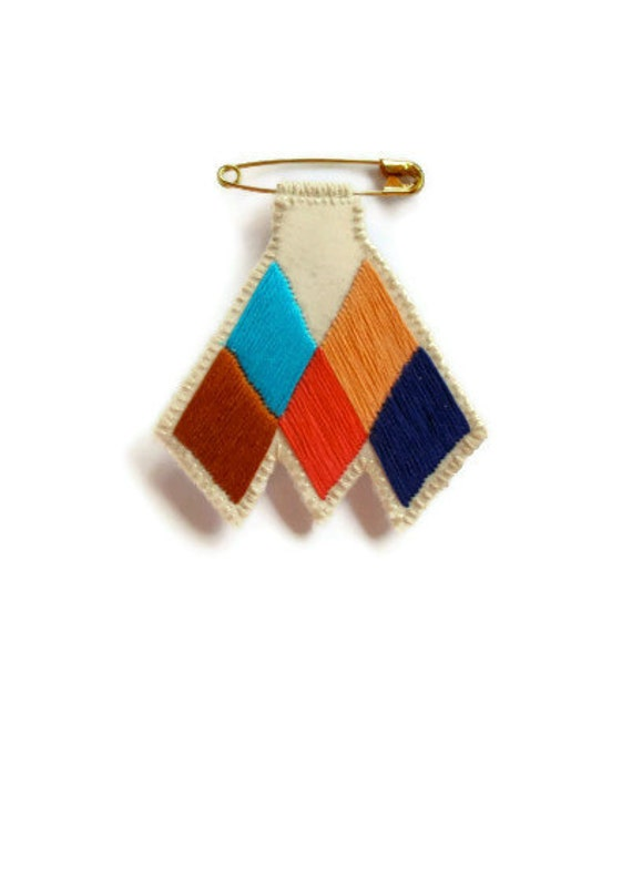 RESERVED FOR ELIF- Chevron diamond badge embroidered coral blue peach tan brooch Tuareg inspired Made to order