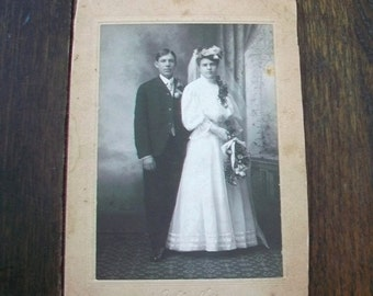 Vintage Cabinet Card Photograph 1800s Victorian Bride and Groom 7 x 5