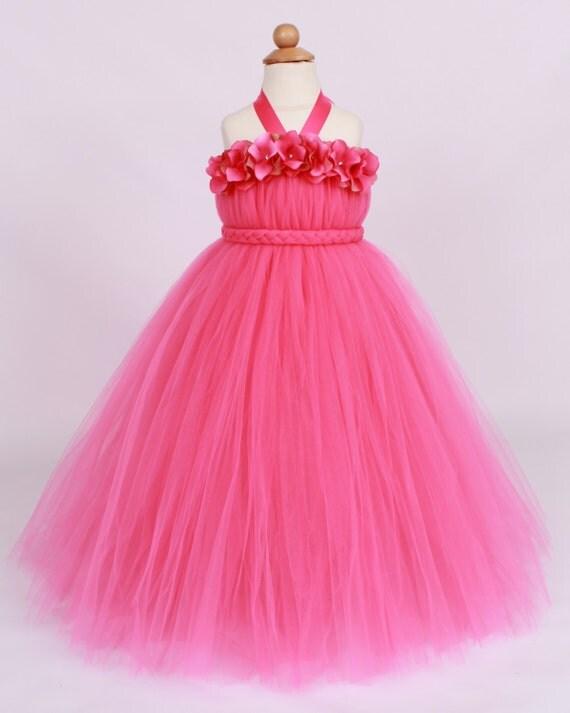 Flower Girl Tutu Dress Hot Pink Tickled by