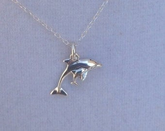 Mother and Baby Dolphin Sterling Charm Necklace, Sealife Sterling Necklace, Nautical Layering Necklace, Mothers' Day