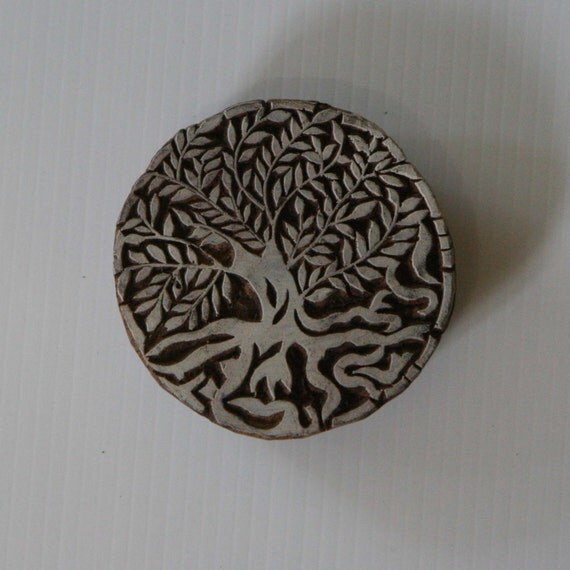 Tree of life stamp indian style hand carved wood block