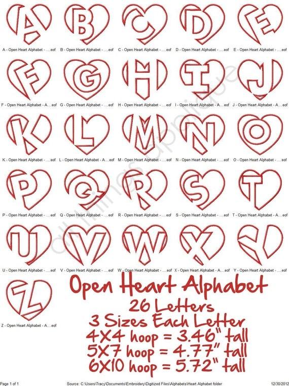 open heart applique alphabet 26 letters 3 sizes