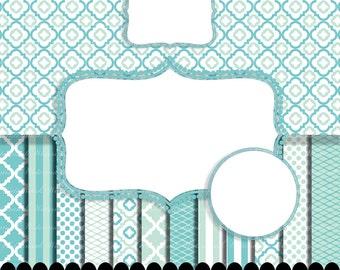 Blue Digital paper frame clip art baby aqua Aqua quatrefoil photo circle digital frame clip art boy stripe : p0207 3s212250