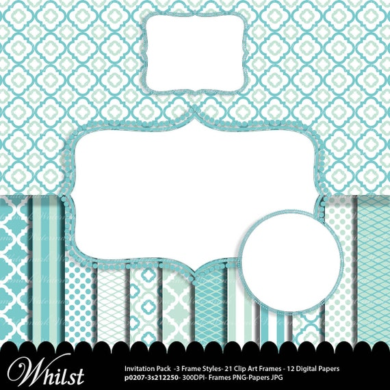 blue digital paper frame clip art baby aqua aqua quatrefoil photo circle digital frame clip art