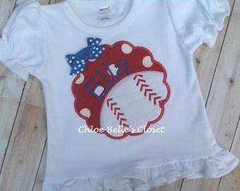 Baseball Scallop Ruffle Shirt or Sleeveless Ruffle Shirt