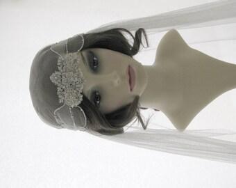 Couture bridal cap veil -1920s wedding  veil - Petite Fleur
