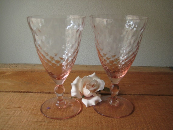 RARE ...Two  Pink Long Stemmed Crystal Wine Glasses / Pink Crystal Depression Glass Wine Glass/ Pink Wedding Wine / Pink Glass