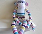 Sock Monkey Doll / White with Pastel Stripes / 20 inches